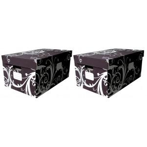 Lot 2 boites de rangement carton 55x34x26 cm