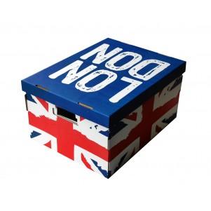 Lot 2 boites de rangement carton 40x31x21cm Union Jack