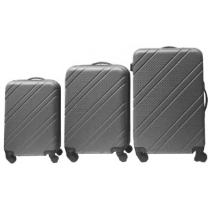 "Lot de 3 valises ABS 50/60/70cm ""Aventure"" noir"